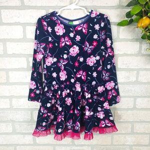 DOLLIE&ME Velvet Long Sleeve Floral Dress Size 6